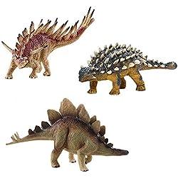 deAO Dinosaurios de Juguete Figuras Prehistóricas del Jurasico Pack de 3 Muñecos; Ankylosaurus, Stegosaurus & Kentrosaurus