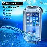 Cover impermeabile per iPhone 7/8 nera, custodia da immersione fino a 130 piedi/40 metri sott'acqua subacquea da 4.7 pollici