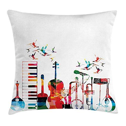 Dutars Musik-Kissenbezug, Bunte Musikinstrumente, Tastatur, Gitarre, Banjo, Trompete, Cello und Fliegende Vögel, dekorativ, quadratisch, 45,7 x 45,7 cm, Mehrfarbig