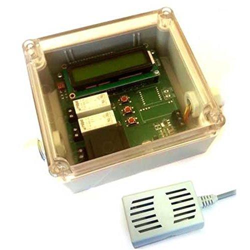 Hygrostat Feuchtraum Entfeuchter Differenz Lüftersteuerung Abluftsteuerung Raumtrockner mit LCD Anzeige incl. 2x Sensoren und Funk Radio Sensor 868MHz auch an FHEM / CCU2 mit Jeelink RFM69 nutzbar -