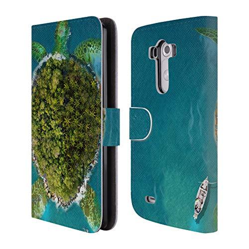 Head Case Designs Offizielle Dave Loblaw Riesen Schildkroete Insel Und Bergen Leder Brieftaschen Huelle kompatibel mit LG G3 / D855 / D850 / D851 (Schildkröte Lg G3)