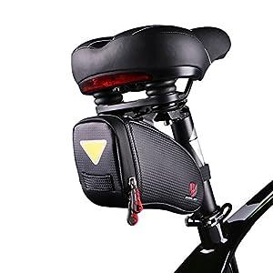 Bolsa para sillín, bolsillo para sillín, para bicicleta de montaña, bicicleta de carreras, resistente al agua, pequeña, negra, para colgar la luz trasera