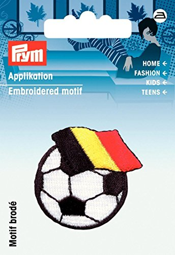 Prym-Pallone da calcio con bandiera Belgio-Iron On Applique,, poliestere, colore: (Belgio Flag Patch)