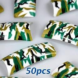 50 Army Green Pre-design False Acrylic Nail Tips by 350buy