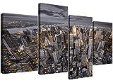 Schwarz und Weiß Groß Leinwandbild New York Skyline–Multi 4Panel–130cm breit–4269–Wallfillers®