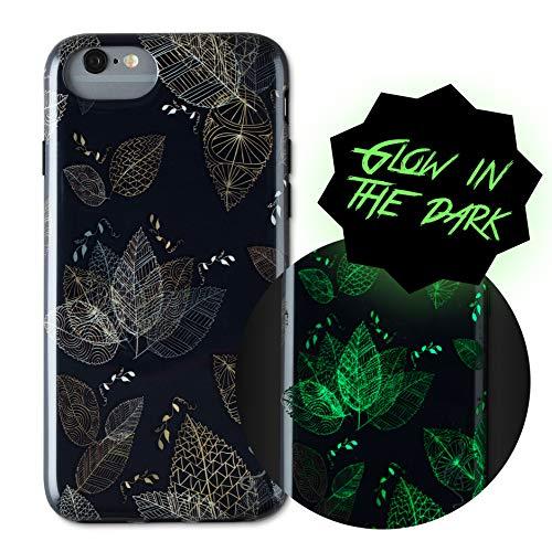 Wilma iPhone 6/7/8 Case, Leaf [Glow In The Dark] Slim Case Soft Plastic Protective Phone Cover Case for iPhone 6/7/8 - Black (Glow The Dark Für Partys Zubehör In)