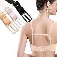 Omeny 3 piezas Sujetador elástico antideslizante de la correa del sujetador de las mujeres desnudo blanco y negro