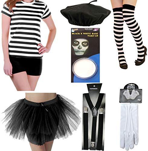 Islander Fashions Disfraz de Isle�o para Mujer Disfraz de Artista de mimo para Mujer Circo Callejero Franc�s Disfraz Disfraz (7 Piezas) 2X Grande