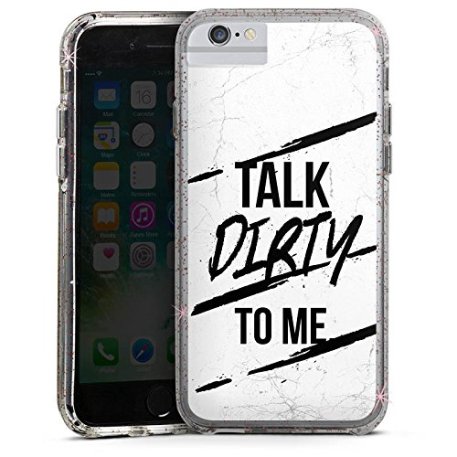 Apple iPhone X Bumper Hülle Bumper Case Glitzer Hülle Talk Dirty To Me Sprüche Fun Bumper Case Glitzer rose gold