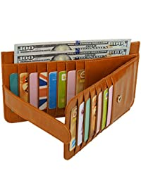 Yaluxe Women'S 22 Credit Card Case Slim Leather Wallet With Zipper Pocket Brown