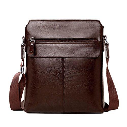 Schulter Messenger Bag Herren Tasche Business Ledertasche Vertical Edition Rucksack Brown1