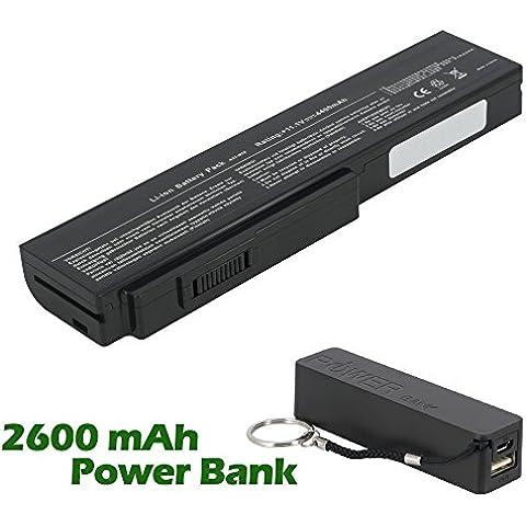 Battpit Bateria de repuesto para portátiles Asus N53S (4400mah / 48wh) con 2600mAh Banco de energía / batería externa (negro) para Smartphone