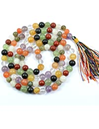 Reiki Crystal Products 9 Chakra Navratna Crystal / Stone 8 Mm Mala / Necklace For Unisex
