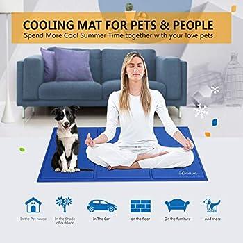 Lauva Tapis frais pour chien Animaux Dog Cool Mat, Chien Self Cooling Gel Mat Pads Pet Cat Cool Lits pour Caisses pour Chiens, Chat Chenils et lits - 36