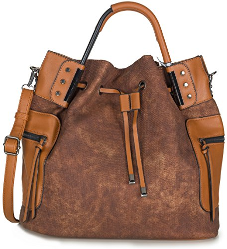 Xuna Damen Handtasche Henkeltasche PU Kunstleder mit Schulterriemen - groß (38 x 34 x 17 cm) Braun Cognac (Handtasche Braune Kunstleder)