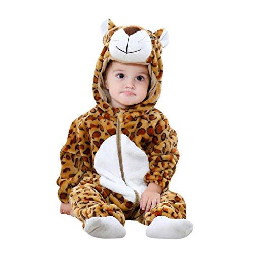 Huihong Baby Mädchen und Jungen Winter Flanell Strampler Overall Outfits Anzug Karikatur Tier Schneeanzug Jumpsuit Spielanzug (Size:90CM, (Kind Kostüme Leopard Tutu)