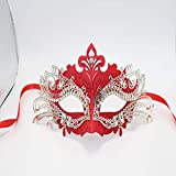 Fanfan Masquerade Metal Masken, Prom Party Laser Cut Halloween Party Maske,Red