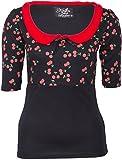 Küstenluder Damen Oberteil Elmira Kirschen Bubikragen Shirt Schwarz S