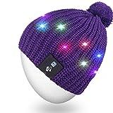 Mydeal LED Schnur Leuchten Mütze Hut Strickmütze mit Kupferdraht Bunte Lichter 4 Fuß 18 LEDs für Männer Frauen Indoor und Outdoor, Festival, Urlaub, Feiern, Partys, Bar, Lila