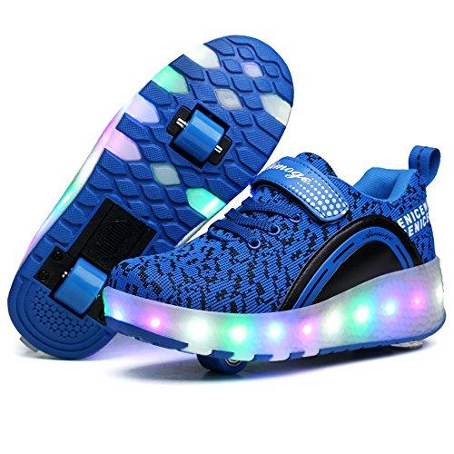 Flyknit Roulettes Aimoge Enfant Chaussures Lumière À Led Basket qAxW4xzpwR