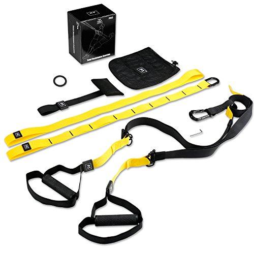 #PRO Schlingentrainer, Suspension Trainer Fitness System mit Suspension Trainingsband + Aufhängung Anker+ Türanker#