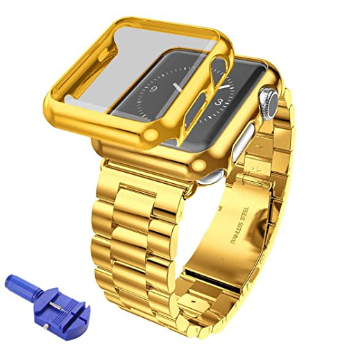 Hunpta Edelstahl Armband Armband Band + Cover Case für Apple Watch Serie 2 42mm (Gold) Armband Case Cover