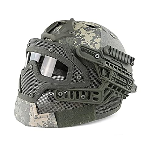 Protective Tactical PJ Fast Helmet Airsoft With Googles G4 System Full Face Mask for Paintball CS Outdoors (Acu)