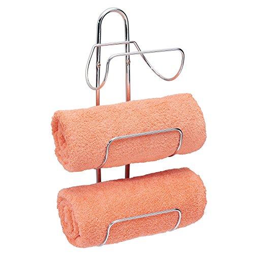 mDesign Estante toallero para Montar en la Pared - Estantería de baño en Metal Cromado con 3 Soportes - Elegante toallero de Pared para Guardar Toallas de baño, de Mano o Manoplas - Plateado