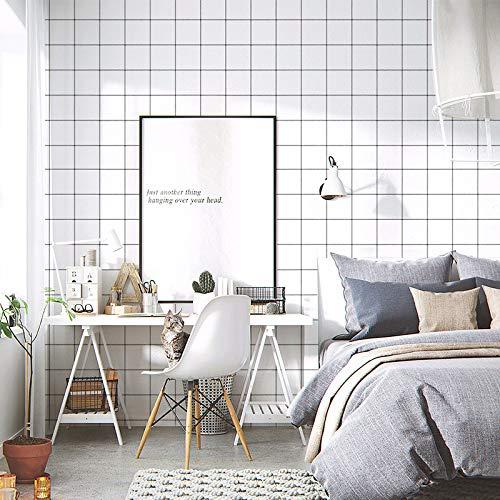 Selbstklebende tapete wasserdicht einfarbig aufkleber schlafzimmer wohnzimmer dekoration tapete grau einfarbig wandaufkleber 0,6 mt * 10 mt schwarz und weiß raster 60 cm -