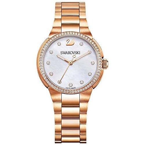 Swarovski citi mini orologio al quarzo, da donna, con display analogico e oro rosa metallo braccialetto 5221176