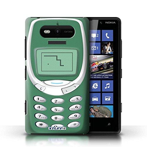 Hülle Case für Nokia Lumia 820 / Schwarzes Nokia 8210 Entwurf / Vintage Handys Collection Grünes Nokia 3310