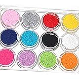 12 colori polvere di arte del chiodo velluto floccaggio in polvere per velluto Manicure Nail Art polacco suggerimenti