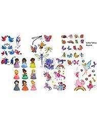 6feuilles de tatouages éphémères pailletés - Sur le thème des princesses - Idée de cadeau pour les enfants