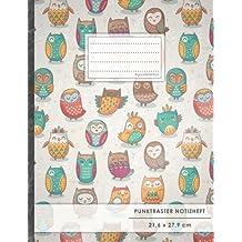 "Punktraster Notizbuch • A4-Format, 100+ Seiten, Soft Cover, Register, ""Lustige Eulen"" • Original #GoodMemos Dot Grid Notebook • Perfekt als Bullet Journal, Zeichenbuch, Skizzenbuch, Kalligraphie Buch"