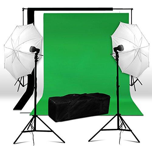 BPS Kit Paragua Fotografía Iluminación Estudio Fotográfico 250W 5500K - Soporte y 3 x Telas Muselina Algodón de Fondo(1.6x3m) + 2 x Paraguas y Soportes(0.8-2m) + Bolsa, Equipo de Luz Continua para Vídeo y Fotografía