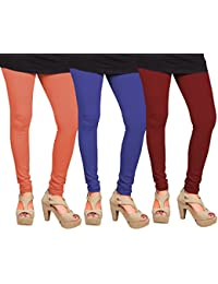 CAY 100% Cotton Combo of Maroon, Orange and Blue Color Plain, Stylish & Most Comfortable Leggings For Girls & Women with Full Length (SIZE : Free Size)
