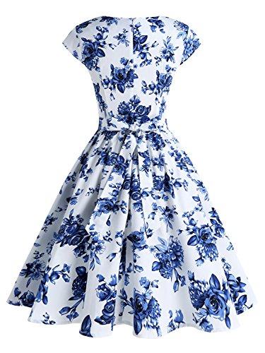 IVNIS Damenkleid Floral Blumen Muster mit Taschen Vintage Kleider 50jähriger Rockabilly Cap-Sleeve Cocktail Weiß Blau Blumen