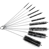 Oria 8.2 Inches Nylon Bottle Tube Nozzle Cleaning Brush (Set in 10), Pipe Cleaner , Glasses Straw Cleaning Brush Set with Protective Cap for Drinking Straws, Glasses, Keyboards, Jewelry Cleaning, Stainless-Steel