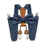 Reuvv Hommes Bretelles Nœud Papillon Set Femme à Pois Cravate Bretelles Costume 4...