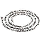 Kangqifen Schmuck Herren-Kette,Edelstahl Gold Silber Halskette,Breite 4 mm,Länge 60cm(Silber)