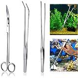 UEETEK Kit da 3 pezzi / set, serbatoio per pesci d'acquario in acciaio inossidabile, attrezzi a forbice per pettini Set Kit di avviamento per pesce per l'erba in vaso da taglio Etc, lunghezza media 26CM