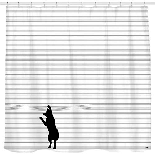 de Motivations-Zitate für Mut Be Awesome Poster Druck rustikaler Duschvorhang Teak-Vorhang Home Bad Decor Stoff Zitat Wandteppich, Stripes Cat, 36