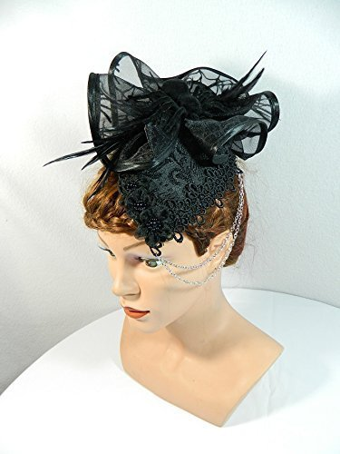 Fascinator schwarz Gothic Teardrop Tropfenhut Damenhut Anlasshut Hütchen