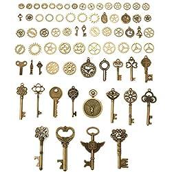 Decoraciones llaves bronce antiguos, Charminer Clave abrebotellas Boda recuerdo Accesorios DIY engranajes ver Regalos Bricolaje Colgantes Pendientes Pulseras Vintage Joyas