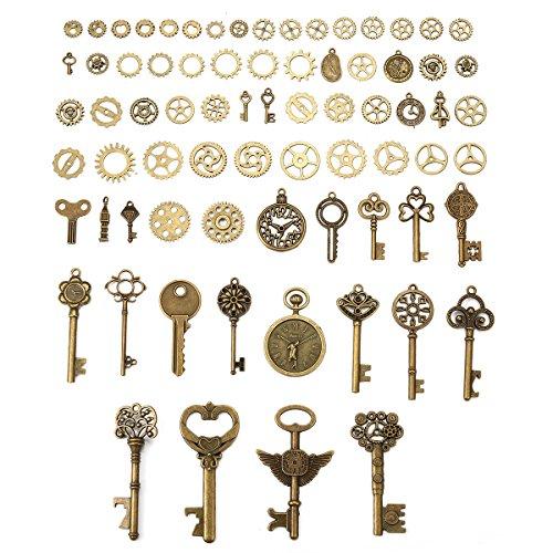 Vintage Schlüssel & Zahnräder,Charminer DIY Antike Bronze,Retro Steampunk -