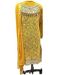 Special Mega Sale Festival Offer C&H Yellow Georgette Designer Semi Stitched Salwar Suits