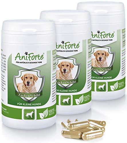 AniForte Zeckenschild für kleine Hunde 180 Kapseln - Natürlicher Zeckenschutz, Abwehr gegen Zecken und Parasiten, Anti-Zecken Schutz, Zeckenabwehr Naturprodukt, Hunde bis 10kg - Sparpack