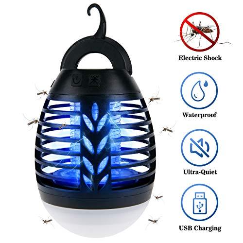 Iregro bug zapper 2 in 1 lampada portatile anti-zanzara led lanterna da campeggio con 3 modalità di illuminazione per l'escursionismo, il campeggio, zaino in spalla, pesca, emergenza (nero)