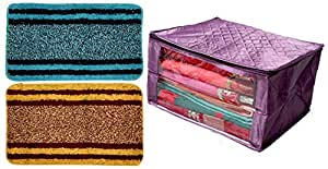 Kuber Industries Rectangular Design Soft Cotton 2 Pieces Door Mat (Multi)-CTKTC32501 & Saree Cover Extra Large Size in Purple Quilted Satin (with Capacity of Upto 15 Sarees) Combo