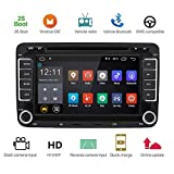 YoaMo 7 Zoll Doppel-Din CD-Receiver Auto Stereo für VW Golf Skoda Seat, 1024P Bluetooth DVD Player GPS Navigation mit Wince System/FM/AM Radio/USB/SD/Park Kamera/Lenkrad Bedienung/Video -16GB